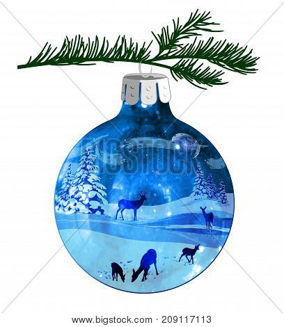 Christmas illustration of a winter scene with snow and deer, on a blue ball ornament