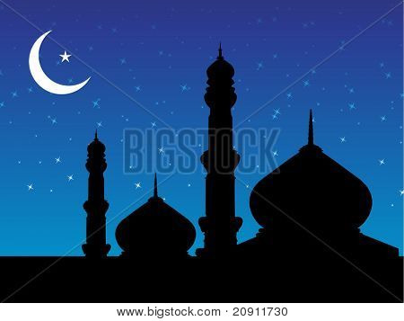 banner of mosques in over bright night sky, design