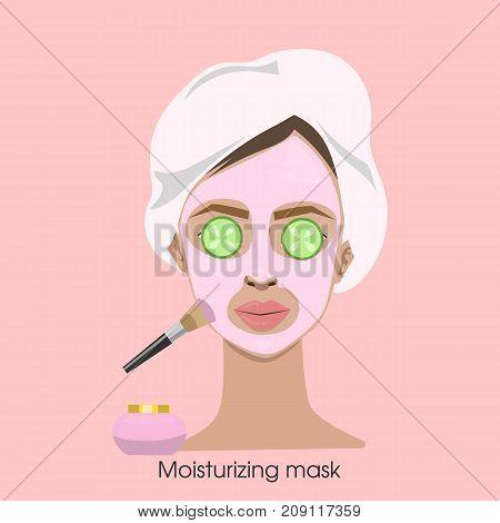 Woman applying moisturizing mask with brush on face.