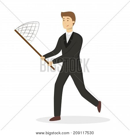 Businessman with net trying to catch success.