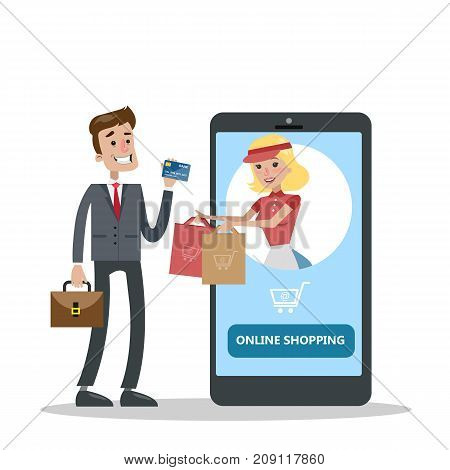 Online shopping concept. Fast delivering and payment.