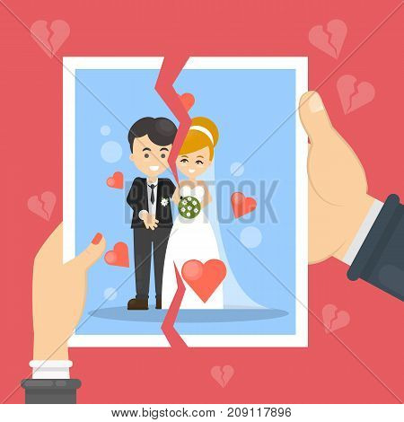 Divorce concept illustration. Woman and man tear marriage photo.