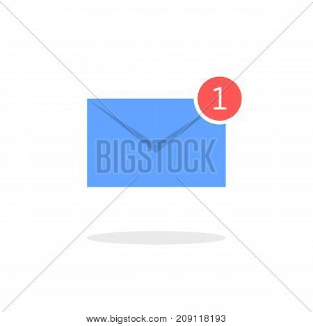 Blue letter icon. New email notification. Vector illustration on white background.