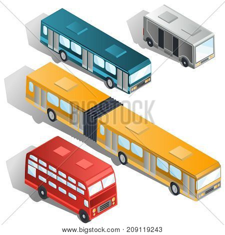 Set of various passenger city buses isometric projection vector illustrations isolated on white background. Coach, double-decker, articulated and van buses collection. Modern public urban transport