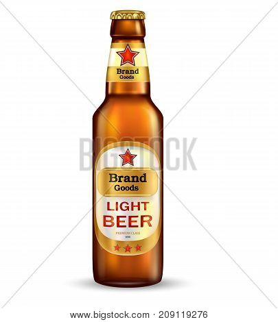 Branded with label brown bottle of premium light beer realistic vector illustration isolated on white background. Traditional low alcohol drink tare template for product mock-up or advertising design