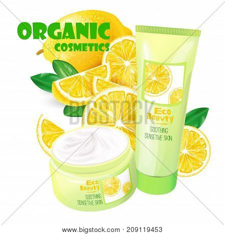 Branded tubes of soothing cream with lemon for sensitive skin realistic vector illustration isolated on white background. Organic cosmetics concept for womens body care eco beauty product ad