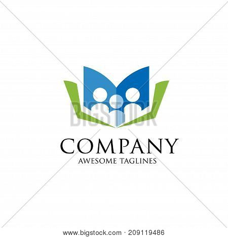 Education vector logo template open book and human. Education logo open book