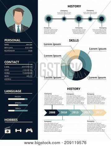 Male resume sample. Skills and abilities, experience and appearance.