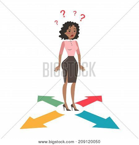 Confused businesswoman with many directions on white.