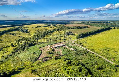 Remains of a Soviet collective farm house in Kursk region of Russia