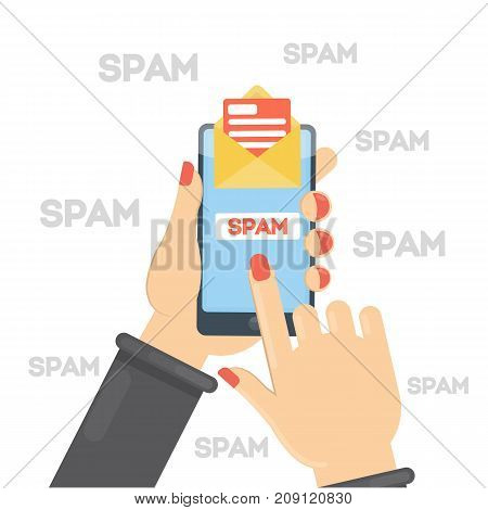 Spam concept illustration. Hacking or advertising emails on smartphone.