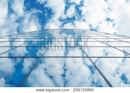 modern business high rise building and blue sky with clouds, Germany