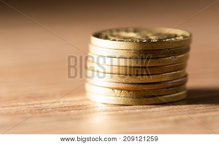 coins macro close up . Photos in the studio
