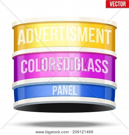 Round colored glass panel for advertising. Text ticker and creeping line. Vector Illustration isolated on white background.