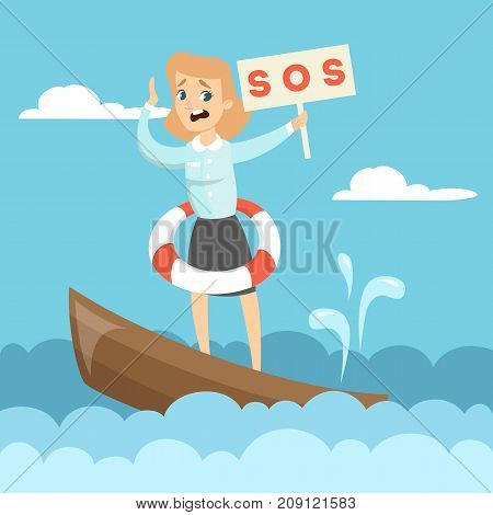 Sinking business boat. Woman on boat with sos sign.