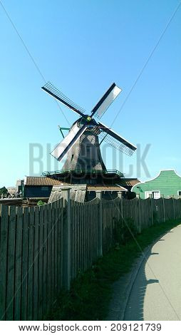 Oldest Dutch mill in small  Holland town