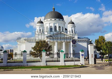 Nizhny Novgorod Russia-Oct 08 2017: Spassky old fair Cathedral temple in the style of late classicism construction was completed in 1822