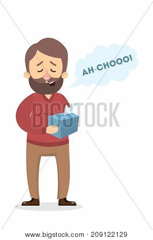 Isolated sneezing man with flu and tissues.