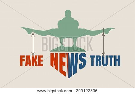 Balance between Fake and Truth. Silhouette of a man tied with the words. Fake news banner background