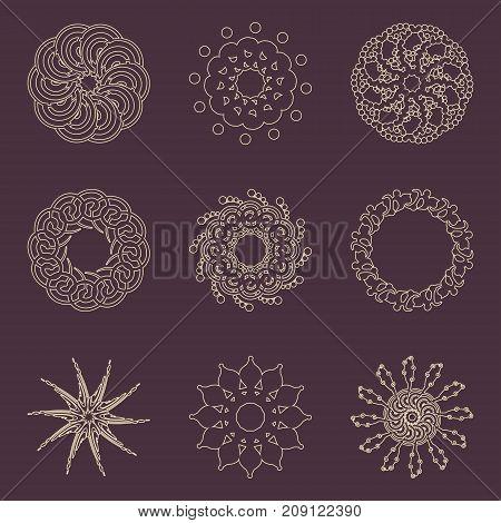 Decorative design elements set. Patterns with geometric ornaments. Circular ornamental mandala symbols. Islam, Arabic and Indian motifs.