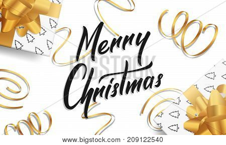 Christmas. Greeting card with Merry Christmas lettering and gold design decorations for Christmas Greetings. Christmas Card.
