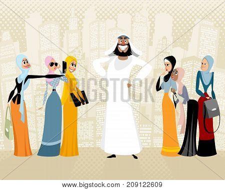 Vector illustration of arab man and women around him