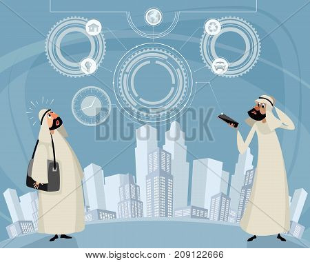 Vector illustration of arab men and telephone technology