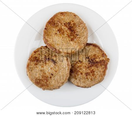 Round Fried Cutlets In White Plate Isolated On White Background