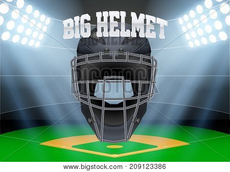 Horizontal Background of night baseball stadium in the spotlight with big catcher helmet. Editable Vector Illustration.
