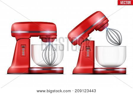 Set of Red Stand Mixer. Food blender. Electronic Kitchen appliance. Realistic Original design. Concept of Health food and drink. Vector Illustration isolated on background.