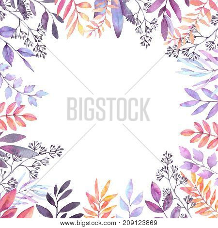 Hand Drawn Watercolor Illustration. Autumn Botanical Clipart. Frame With Purple Leaves, Herbs And Br