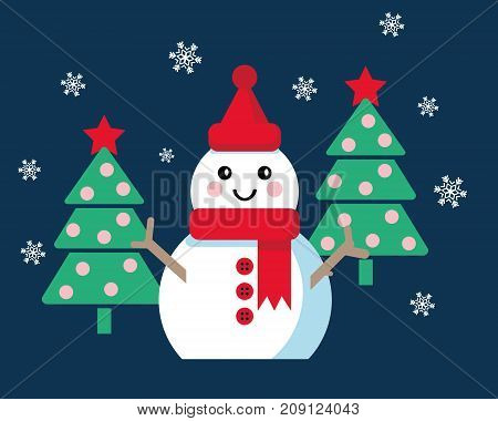 Funny cartoon snowman, Vector illustration with snowman and two Christmas trees