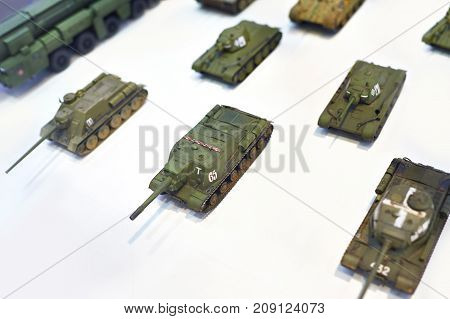 The toy tanks on the white background