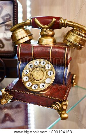 Model Of Vintage Telephone With Dial