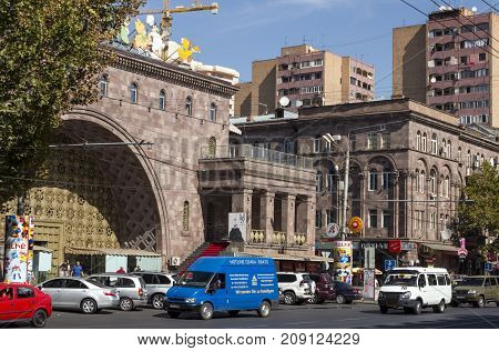 YEREVAN, ARMENIA -SEPTEMBER 26,2017 :Downtown Yerevan,Armenia on September 26 2017. It is always crowded many tourists Historical district features a bustling entertainment scene with bars and restaurants.