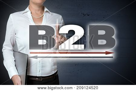 B2B touchscreen shown by businesswoman concept picture