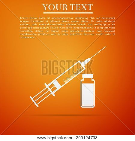 Medical syringe with needle and vial, concept of vaccination, injection icon isolated on orange background. Flat design. Vector Illustration