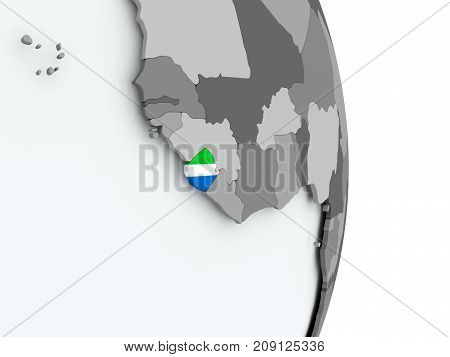 Map Of Sierra Leone With Flag