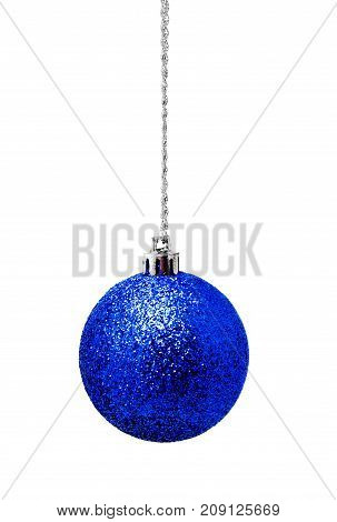 Hunging blue christmas ball isolated on a white background