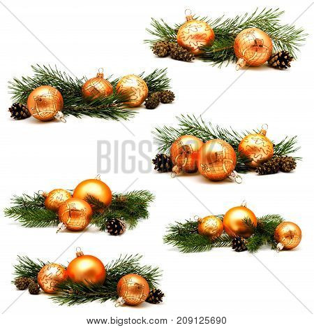 Collection of photos christmas decoration gold and yellow balls with fir cones and fir tree branches isolated on a white background