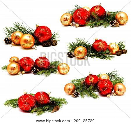 Collection of photos christmas decoration red and golden yellow balls with fir cones and fir tree branches isolated on a white background