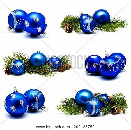 Collection of photos christmas decoration blue balls with fir cones and fir tree branches isolated on a white background