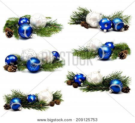 Collection of photos christmas decoration blue and silver balls with fir cones and fir tree branches isolated on a white background