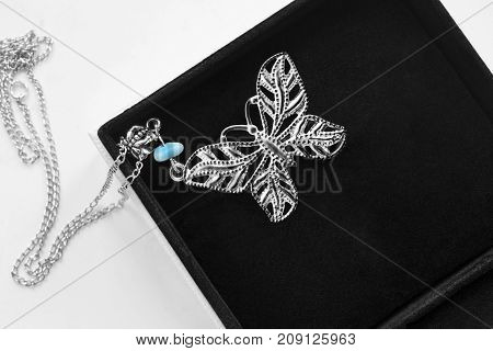 Silver necklace with butterfly pendant in black jewel box closeup