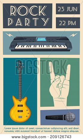 Rock music poster. Old school party. Cartoon vector illustration. Vintage style. For print and web. Live festival. For concert promotion in clubs, bars, pubs and public places.