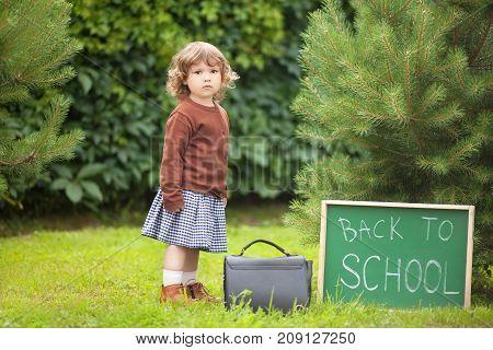 Adorable Toddler Girl; Back To School Written On Chalk Blackboard