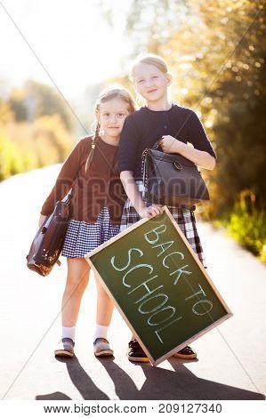 Two Little Girls Ready Back To School