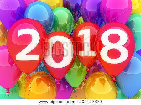 Sign new year 2018 on balloon. 3d illustration