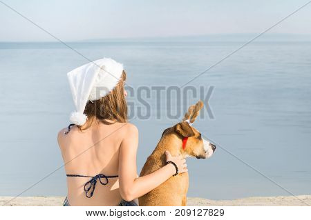 Girl in bikini and dog at seaside for christmas vacation. Young female person in santa claus hat sit on beach next to staffordshire terier puppy with toy reindeer horns