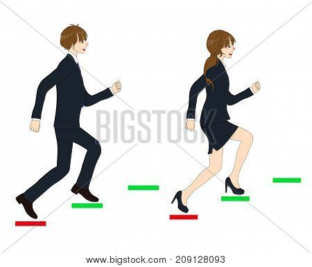 Business People Running to the Top. isolated on White Background. Vector Illustration.